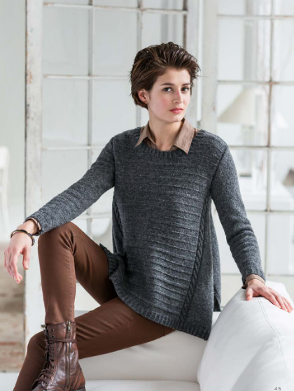 Photo from Wool People 7.  The sweater is called Arabella.